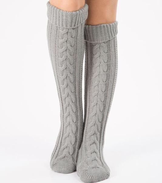 Christmas Acrylic Knee High Socks Gray Knitted Leg Warmers