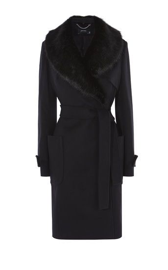Karen Millen Faux Fur Collar Coat Black 163 350 A W 2016