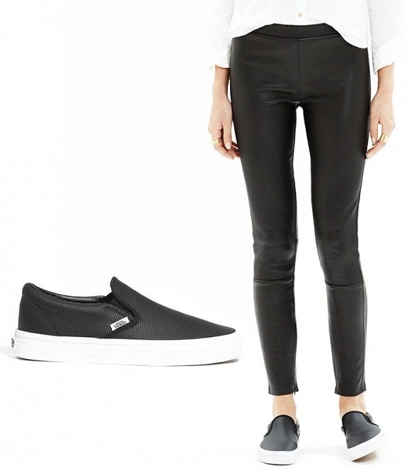7b837da54d8 Wearing shoes the same color as your pants adds the illusion of length     Vans Classic Slip-Ons in Perforated Leather + Madewell Leather Leggings