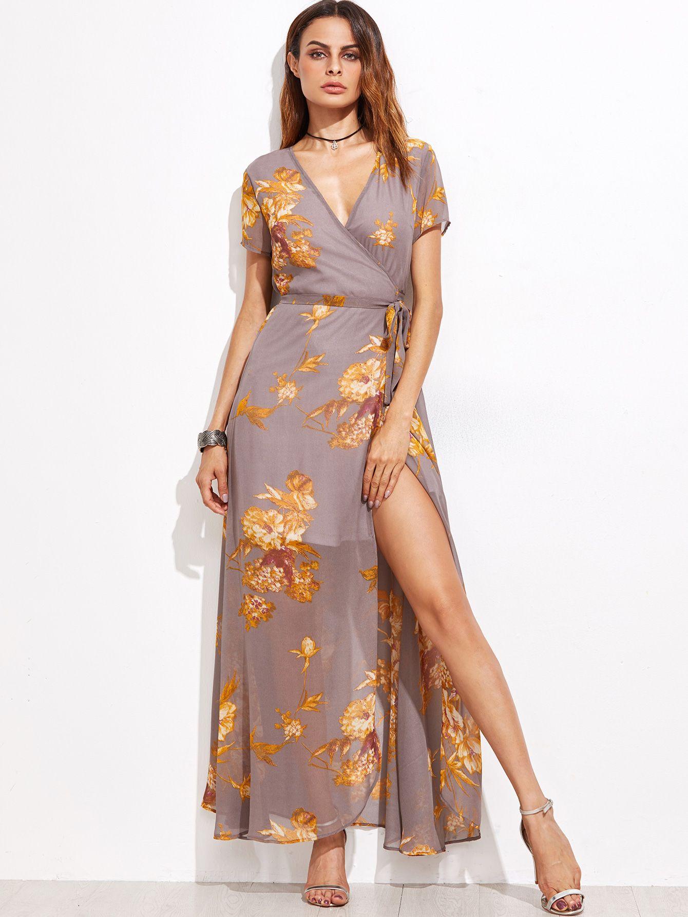 2ab52cde8a Shop Grey Flower Print Self Tie Warp Dress online. SheIn offers Grey Flower  Print Self Tie Warp Dress