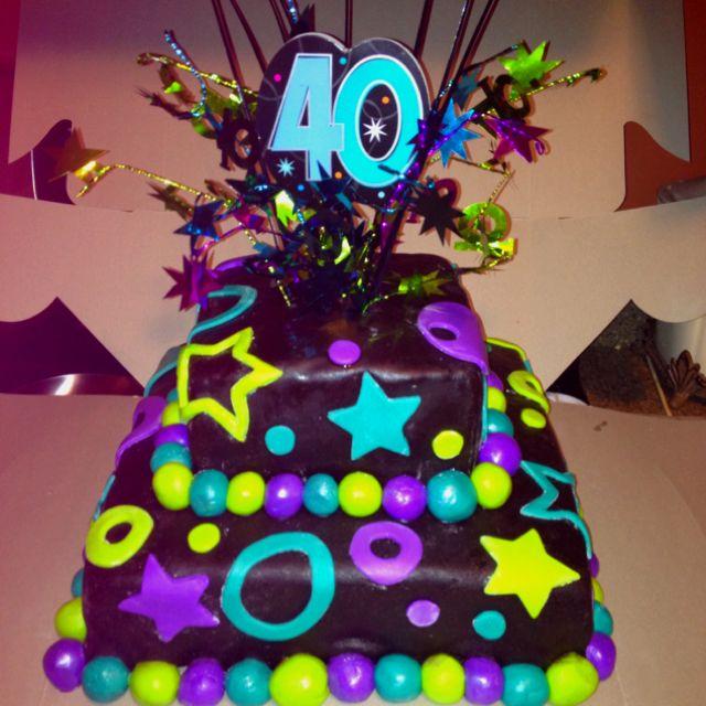 Happy 40th Birthday Cake 2 Tier Fondant Cake Black