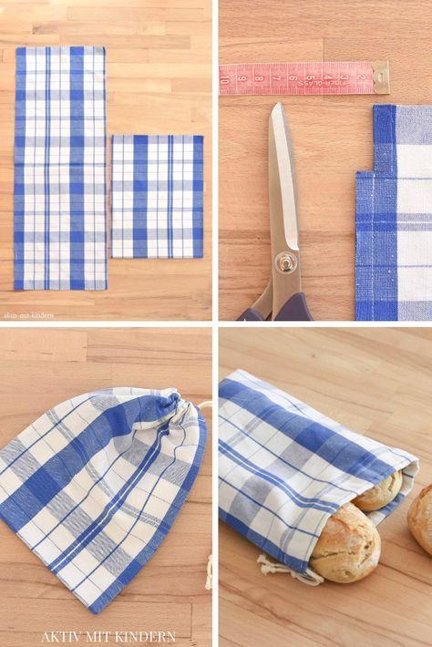 Cousez vous-même des sacs en coton / sacs à pain. De vieux torchons de cuisine. – Actif avec les enfants   – nähen