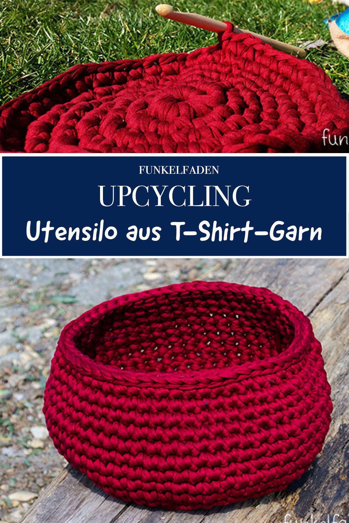 DIY Free Crochet Pattern – Häkelgerät aus T-Shirt-Garn – UPCYCLING IDEEN