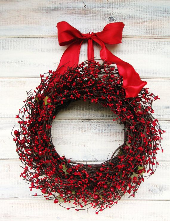 Strawberry Red Berry Wreathsummer By Wildridgedesign On Etsy 55 00 4th Of July Wreath Summer Home Decor Holiday Door