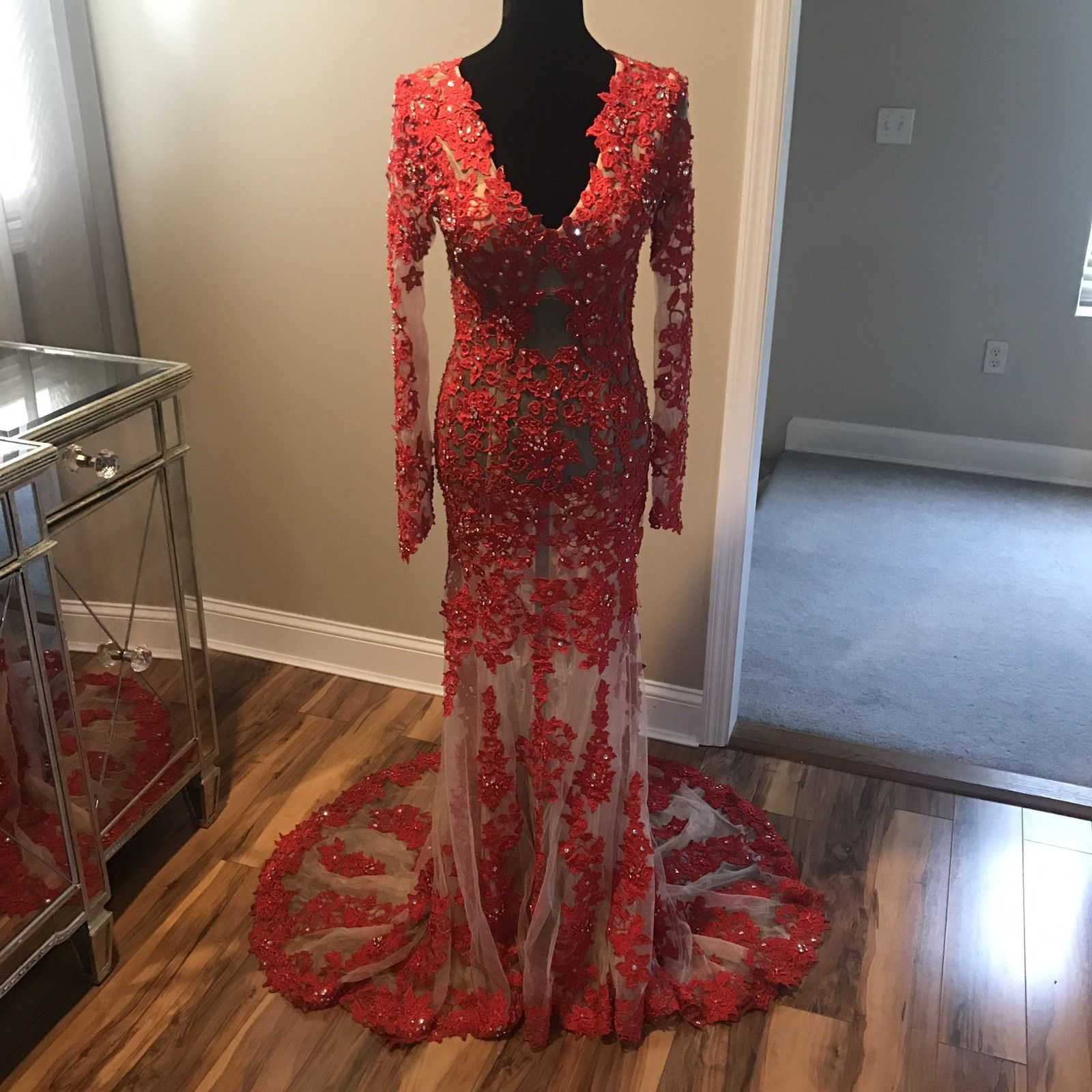 Awesome awesome claudine alyce paris long sleeve red prom dress sz