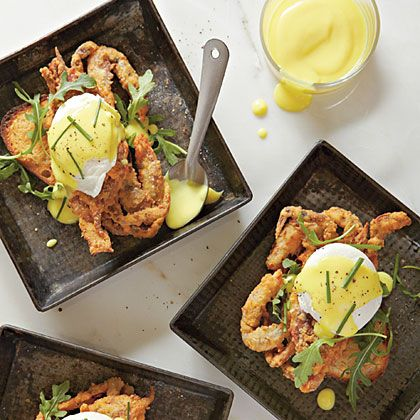 Fried soft shelled crabs benedict