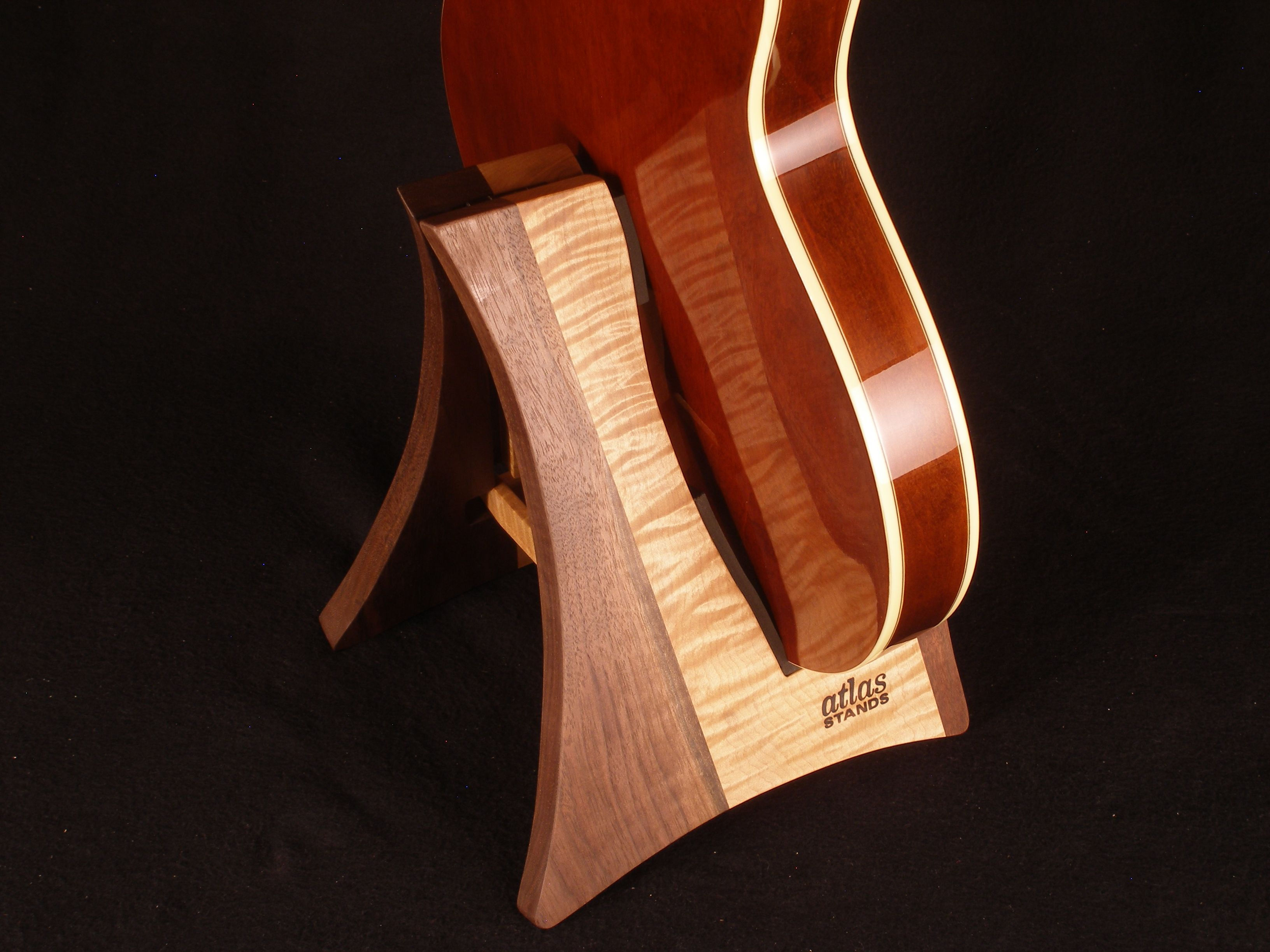 curly maple and black walnut guitar stand it folds up too custom atlas stands guitar stands. Black Bedroom Furniture Sets. Home Design Ideas