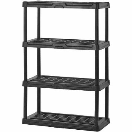 Muscle Rack 36 Inchw X 18 Inchd X 56 Inchh Four Shelf Resin Shelving Black Value Bundle Set Of 2 Plastic Shelving Units Plastic Shelves