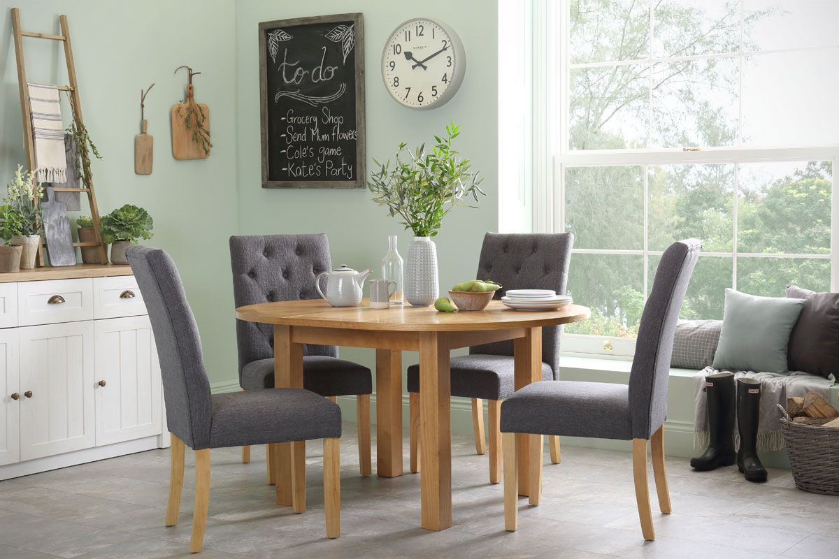 Harrington Round Extending Dining Table   With 4 Hatfield Slate Chairs