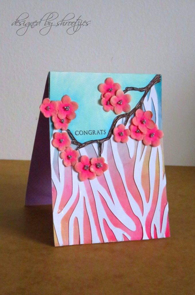 Handmade Congratulations floral card by Shrootzies