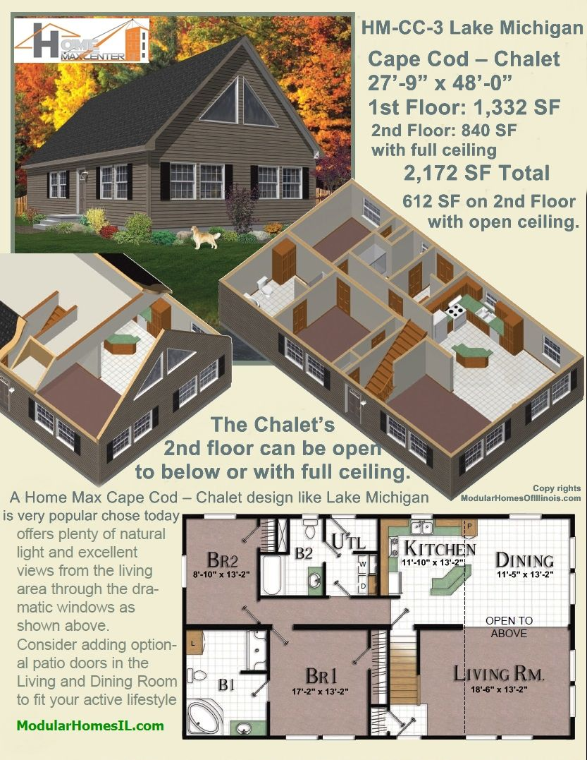 Lake michigan model hm cc 3 cape cod style with 2nd floor for Cape cod floor plans with loft