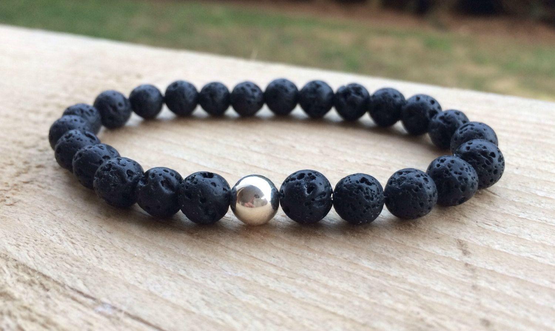 Black Lava Bead Bracelet, Sterling Silver, Beaded Bracelet, Focus Bead, by HarleysJewellery on Etsy