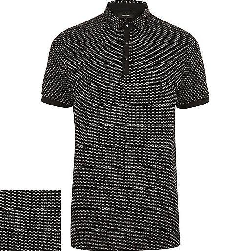 Black jacquard polo shirt - polo shirts - men
