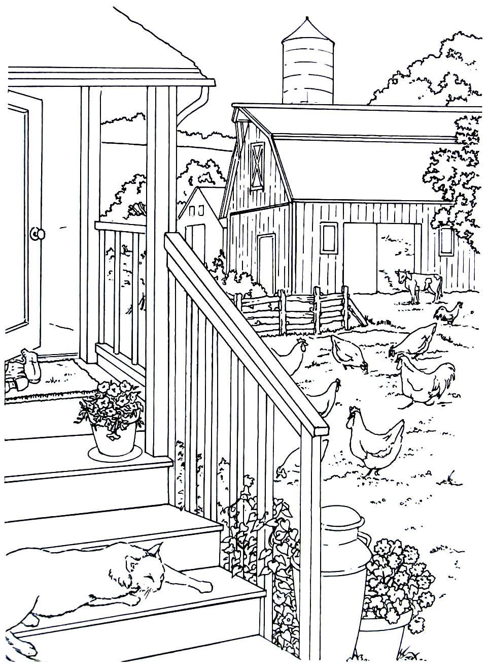Country House With Chickens Living In The Country Coloring Book