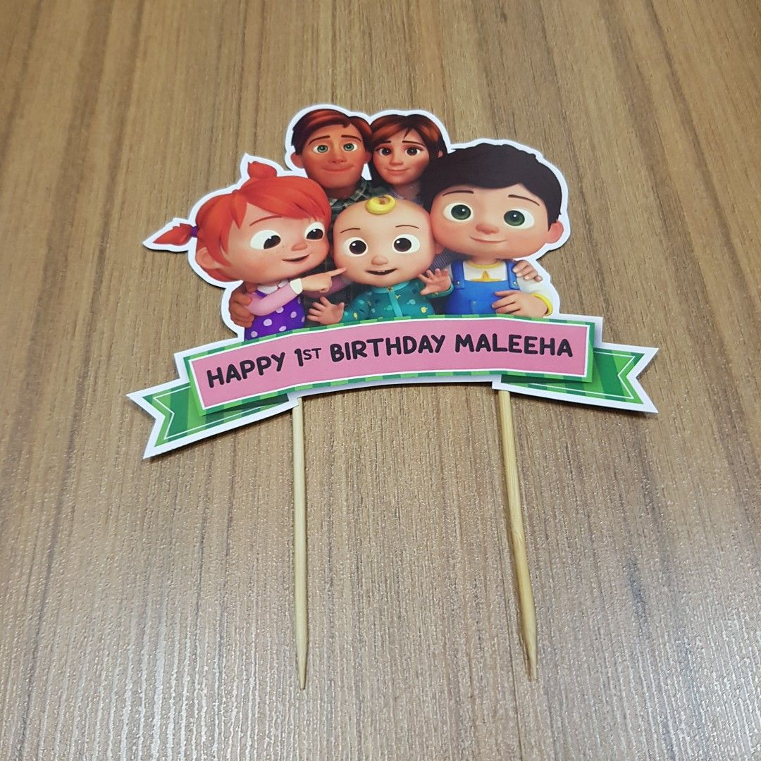 Cocomelon Happy Birthday Cake Topper for Cocomelon Themed Birthday Party Decorations