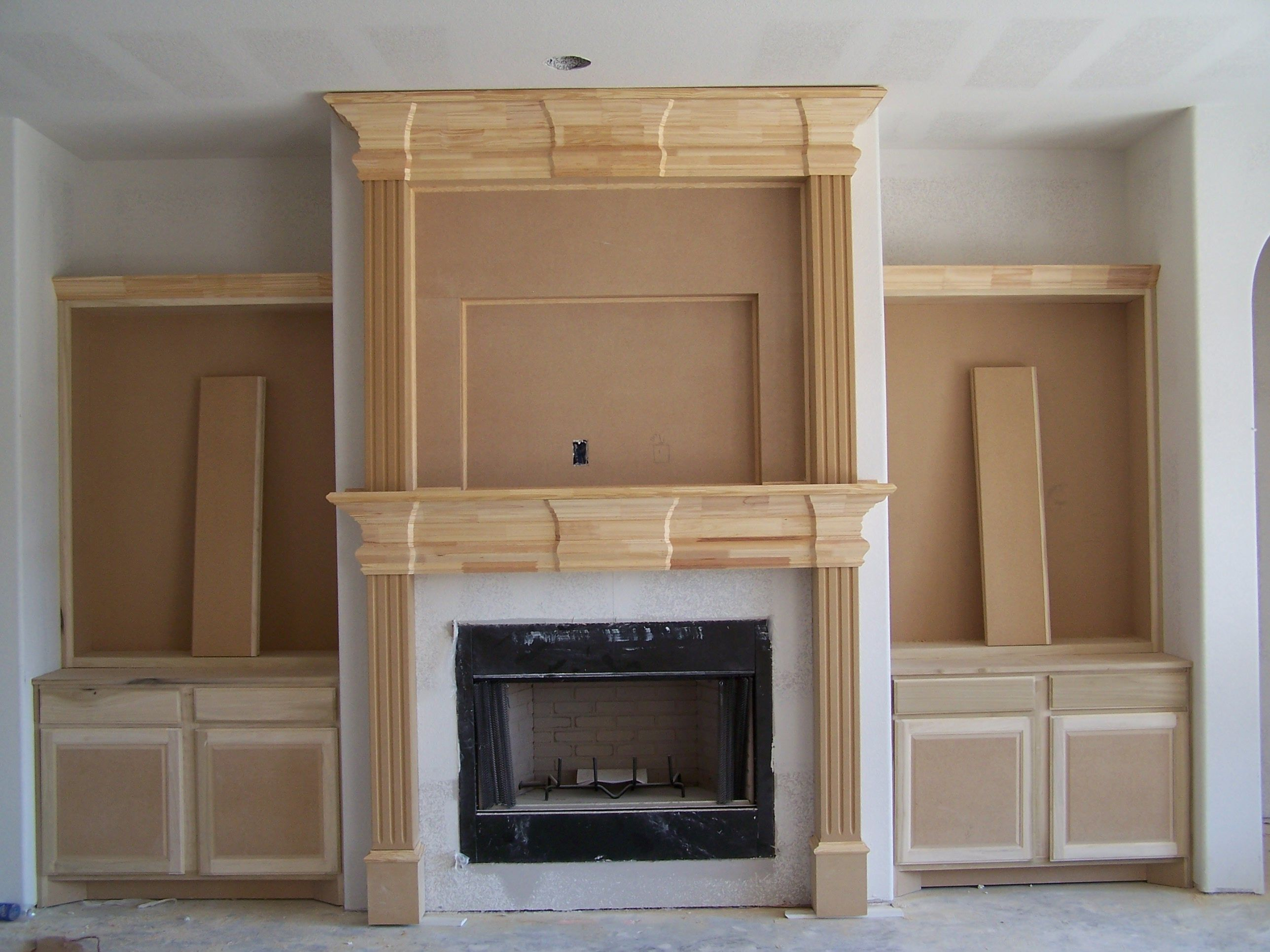 Unusual Fireplace Mantels Ideas With Brown Wooden Also Combine High Panels As Well Cast Stone Fireplaces Limestone