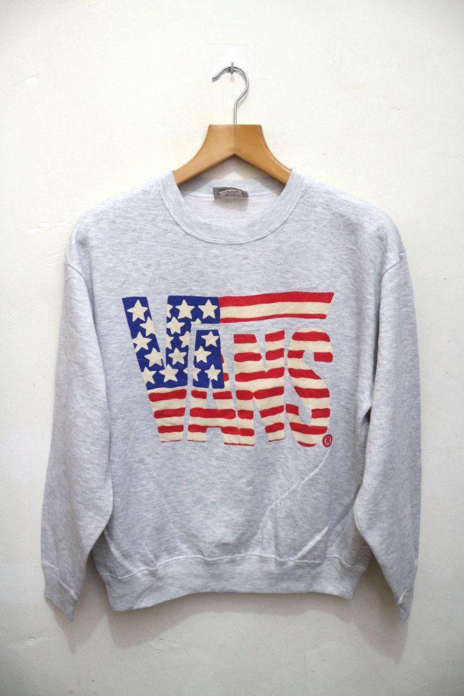 bd85f3b26f Vintage VANS Of The Wall American Flag Skate Streetwear Pullover Crewneck…