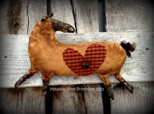Primitive Folk Art Sheep with HeartLove by MeadowForkPrims on Etsy