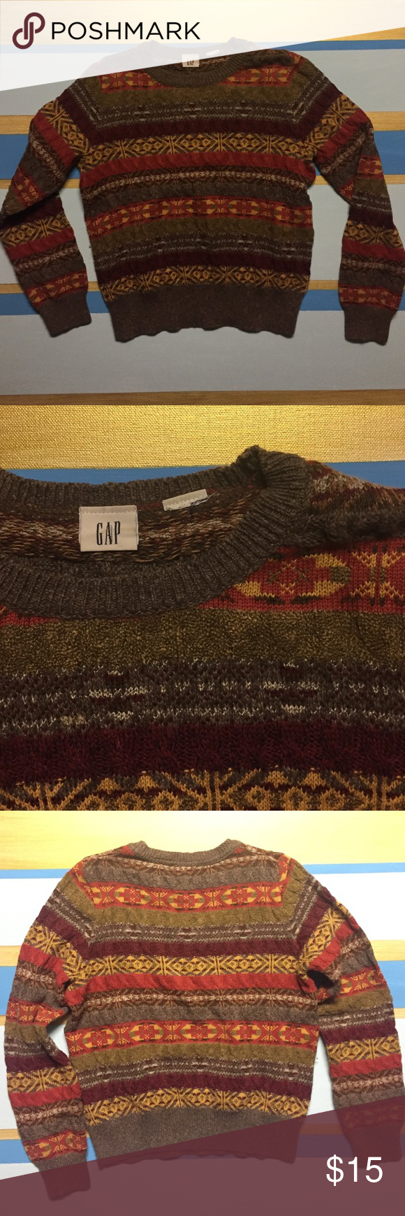 """GAP Sweater Fall colored GAP sweater, nice thick material. Does not have size tag. Assuming S or XS. 21"""" from shoulder to hem, 17.5"""" at widest point GAP Tops Sweatshirts & Hoodies"""