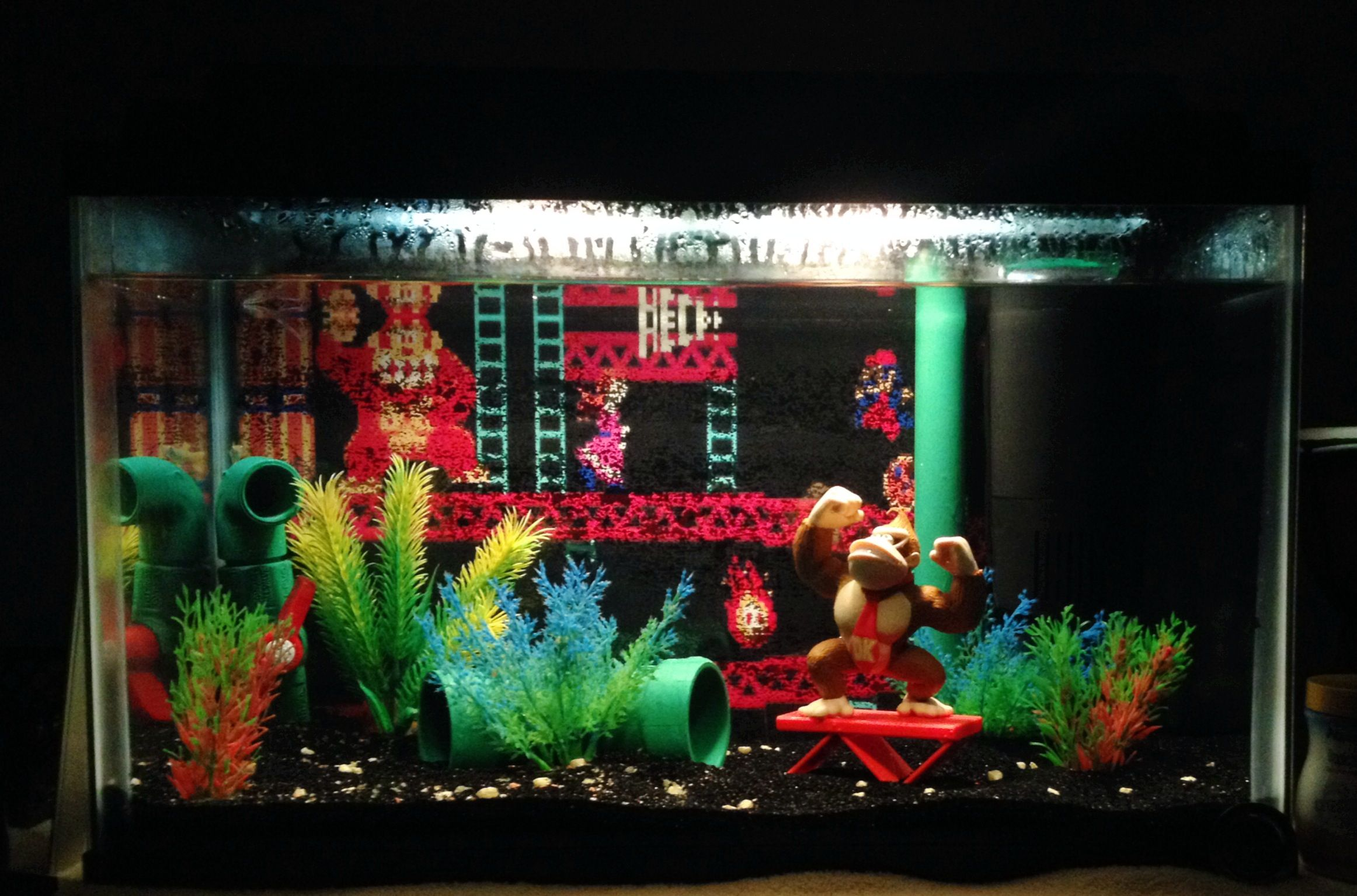 Donkey Kong arcade fish tank. Features hand painted PVC pipe and ...
