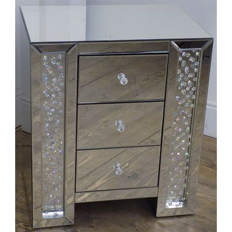 glitter crystal 3 drawer mirrored bedside table 565 x 40 x 66cm