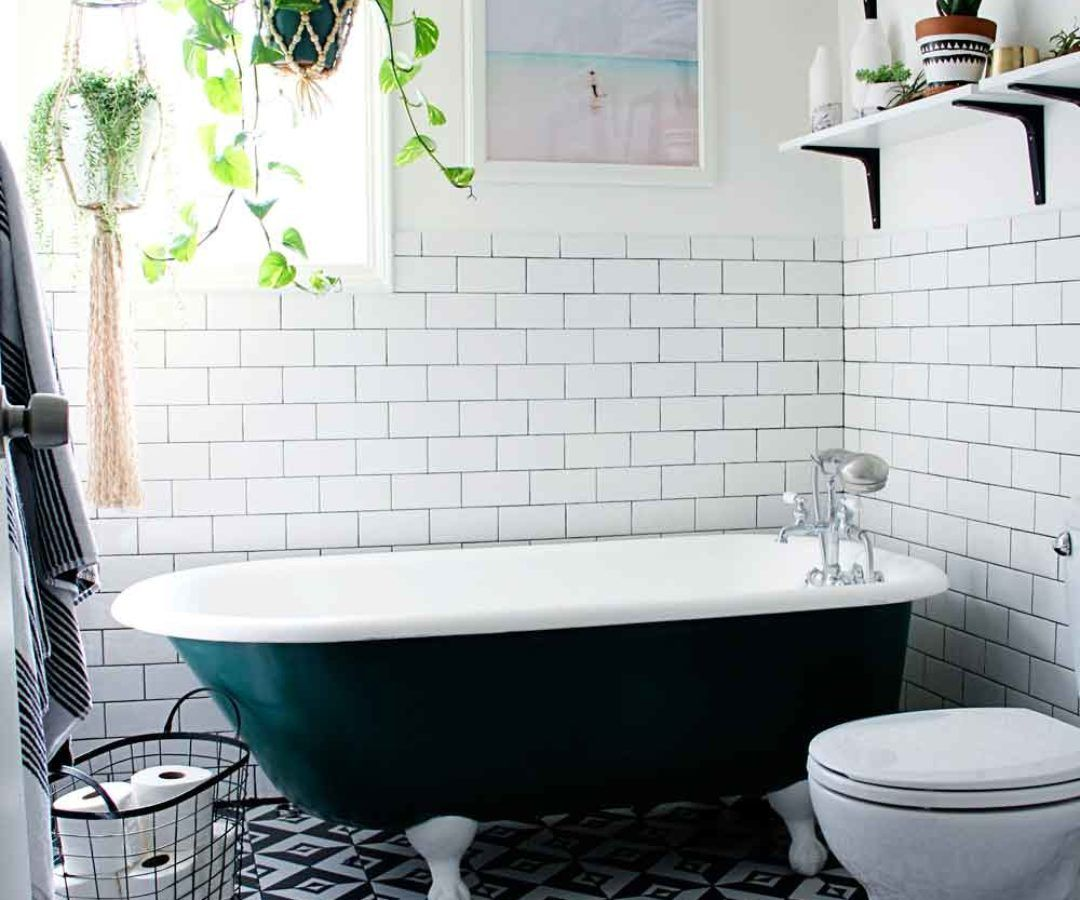 pattern floor tile, white subway tile, dark greeny black roll top ...
