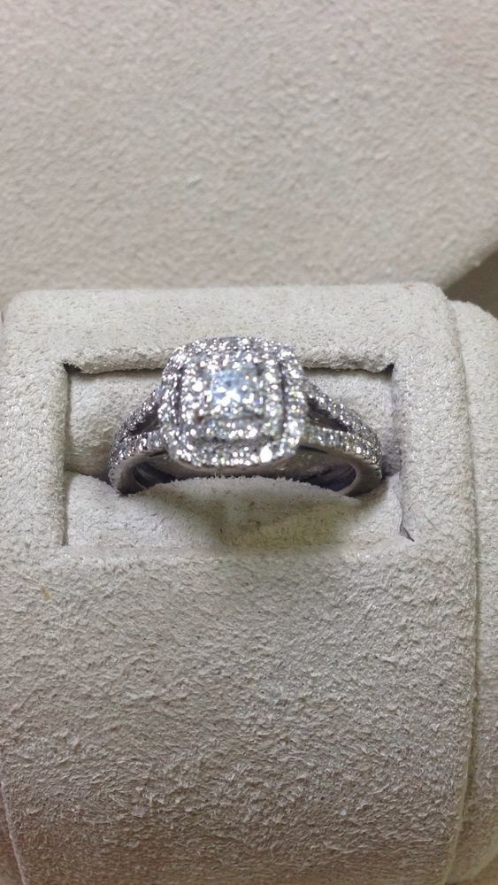 Double Halo Princess Engagement Bridal 1 CTW Diamond Ring SI1I 14K
