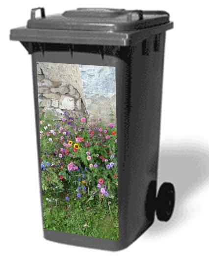 jardin fleuri sticker poubelle poubelle fleuri et tenues. Black Bedroom Furniture Sets. Home Design Ideas