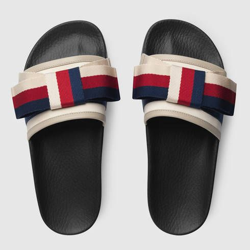 92a050dac Gucci Satin slide with Sylvie bow Detail 3 | WANT in 2019 | Shoes ...