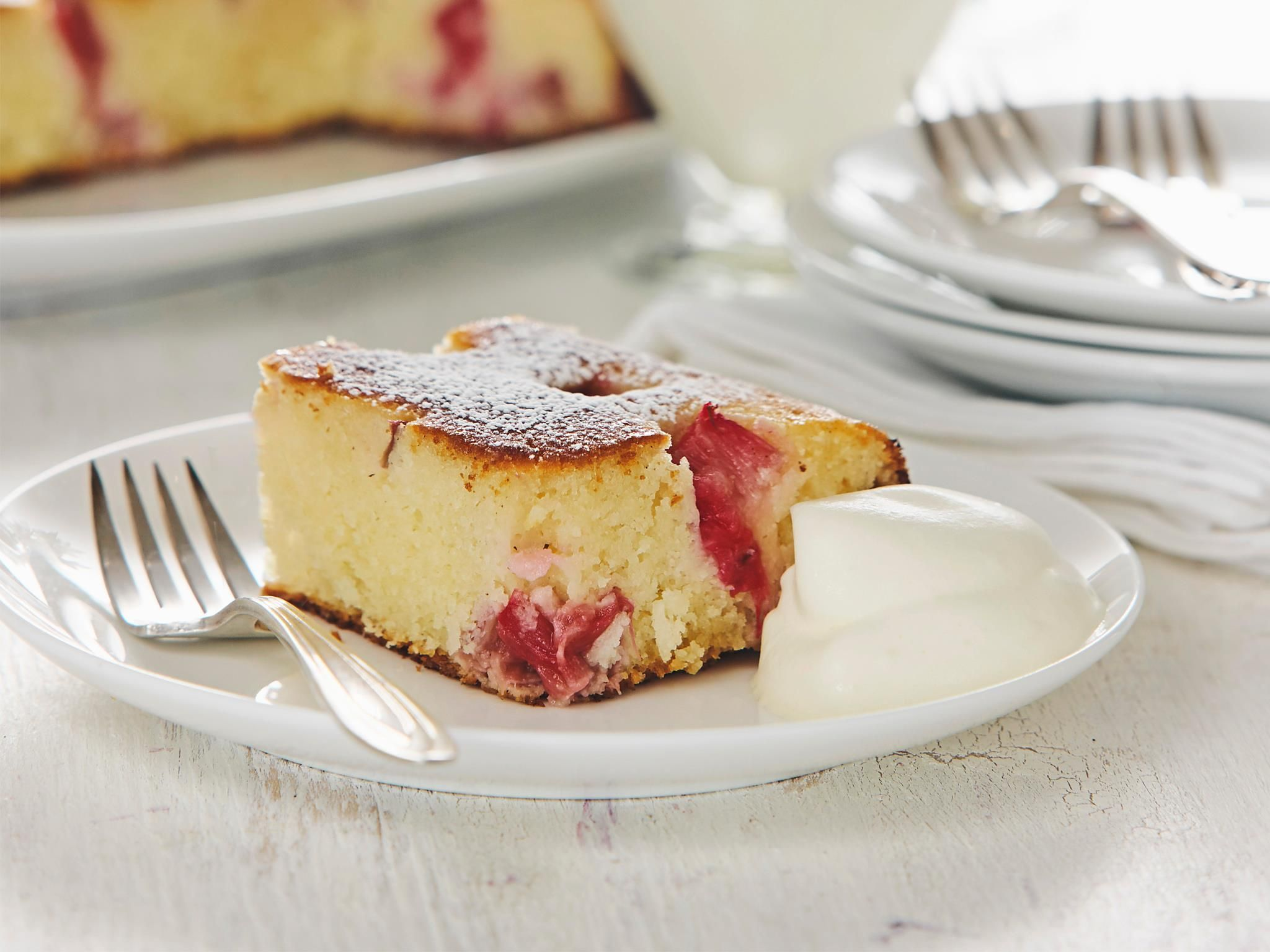 Enjoy this moist rhubarb and coconut semolina cake recipe