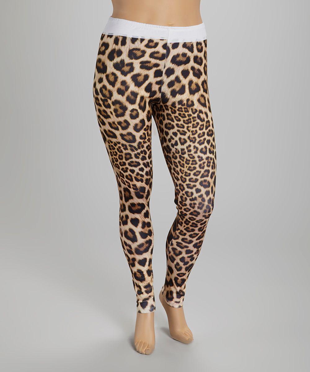White & Tan Cheetah Leggings - Plus