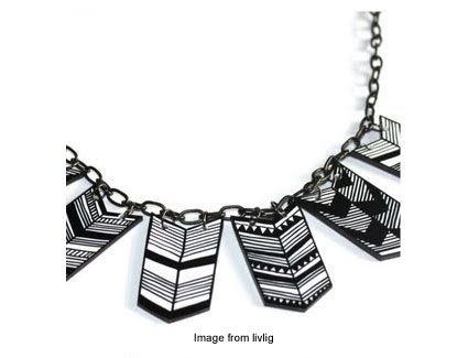 geometric shrink plastic necklace from livlig