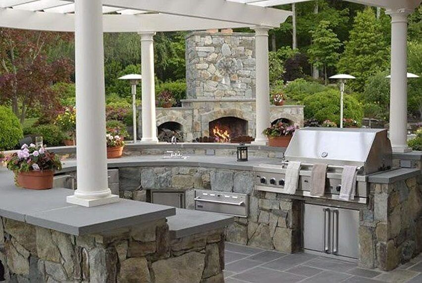 62 Beautiful Backyard Patio Ideas & Designs  Grey Countertops Amusing Outdoor Kitchen Designs Ideas Design Ideas