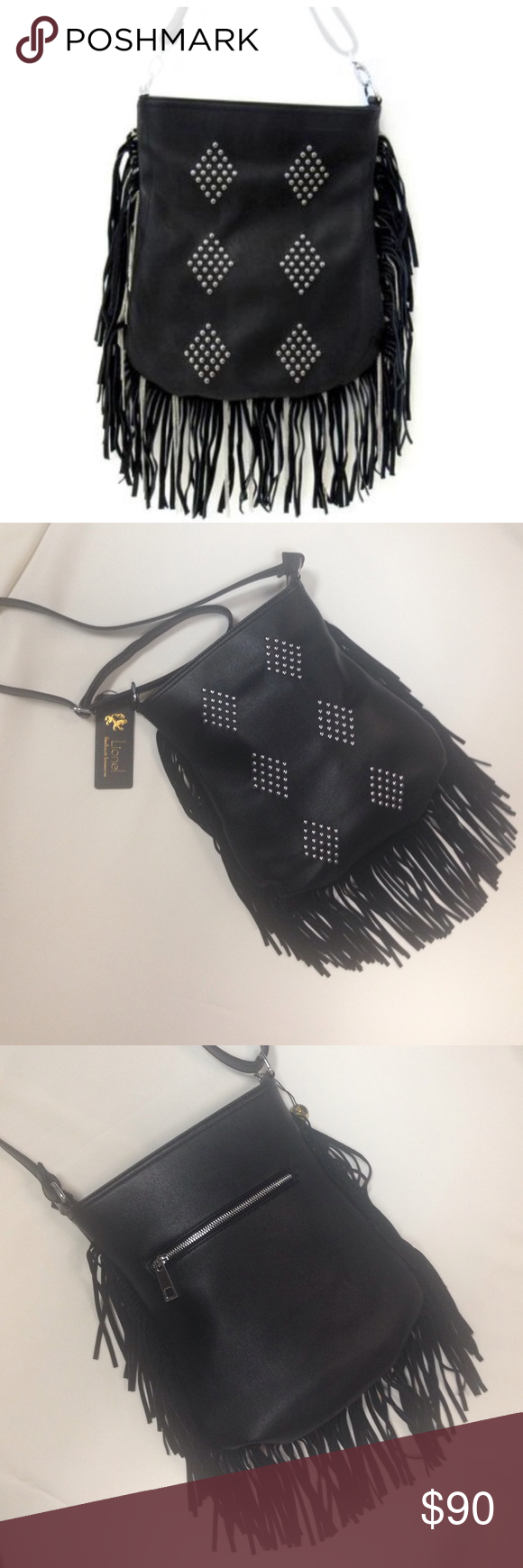 """NWT Black Boho Fringe & Studs Purse NWT.  Fun black shoulder bag with suede fringe and silver studs.  Silver hardware, zipper closure, inside zip pocket and two media pockets, back zipped pocket, adjustable shoulder strap, can be worn as a crossbody. Vegan leather.  Approx measurements laying flat: 12.5"""" H x 11"""" W x 2"""" D. Lionel Bags Shoulder Bags"""