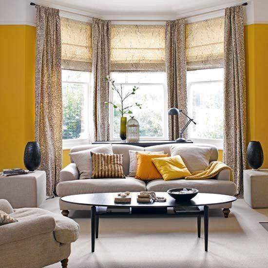 Mosby Building Arts Bay Window Living Room Living Room Grey Yellow Living Room