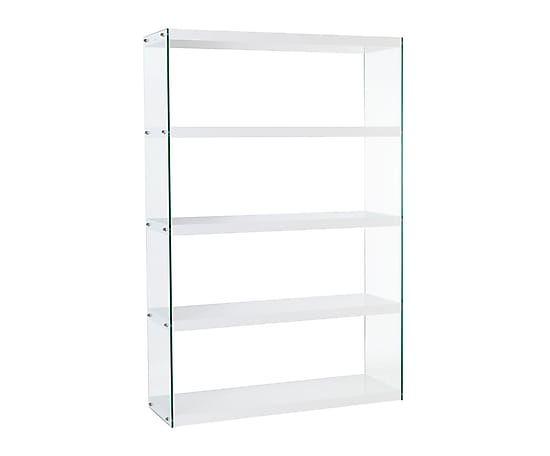 Estanter a de madera dm y vidrio calatrava blanco for Estanterias de cristal baratas
