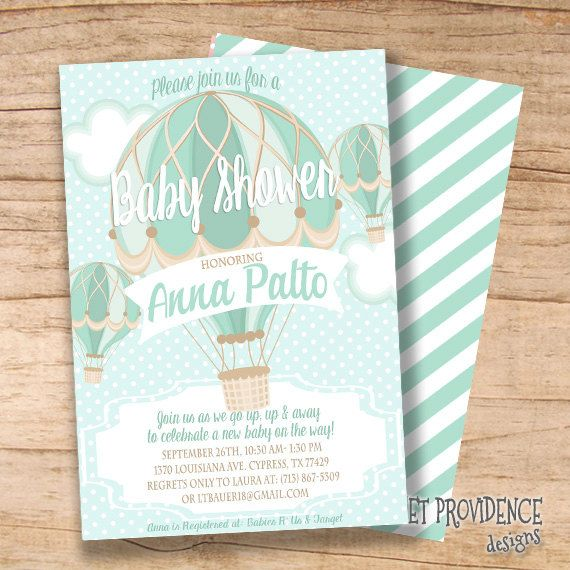 Hot Air Balloon Baby Shower Invitation, Balloon Invitation, Aqua Blue  Vintage Hot Air Balloon Invitation, Templett EDITABLE Instant Download