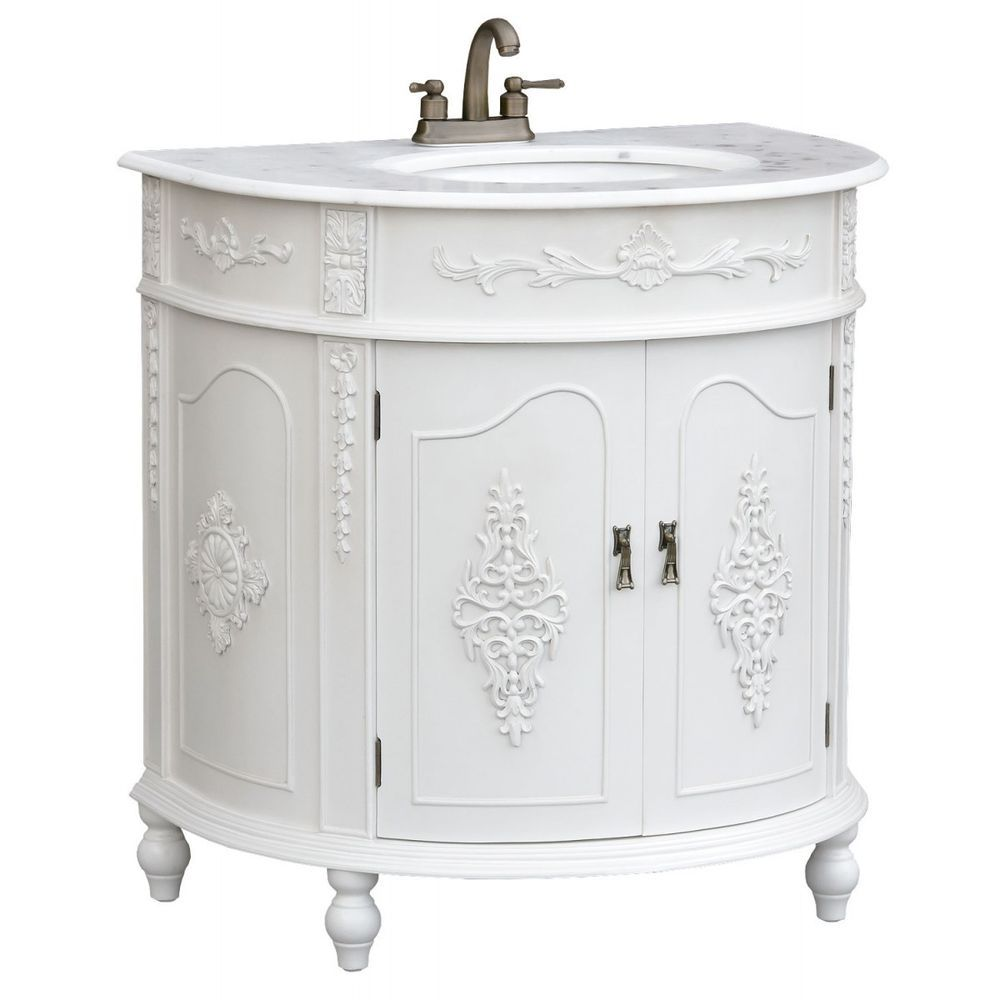 French style bathroom vanity units - French Chateau Antique White Half Moon Vanity Bathroom Sink Unit Marble Top