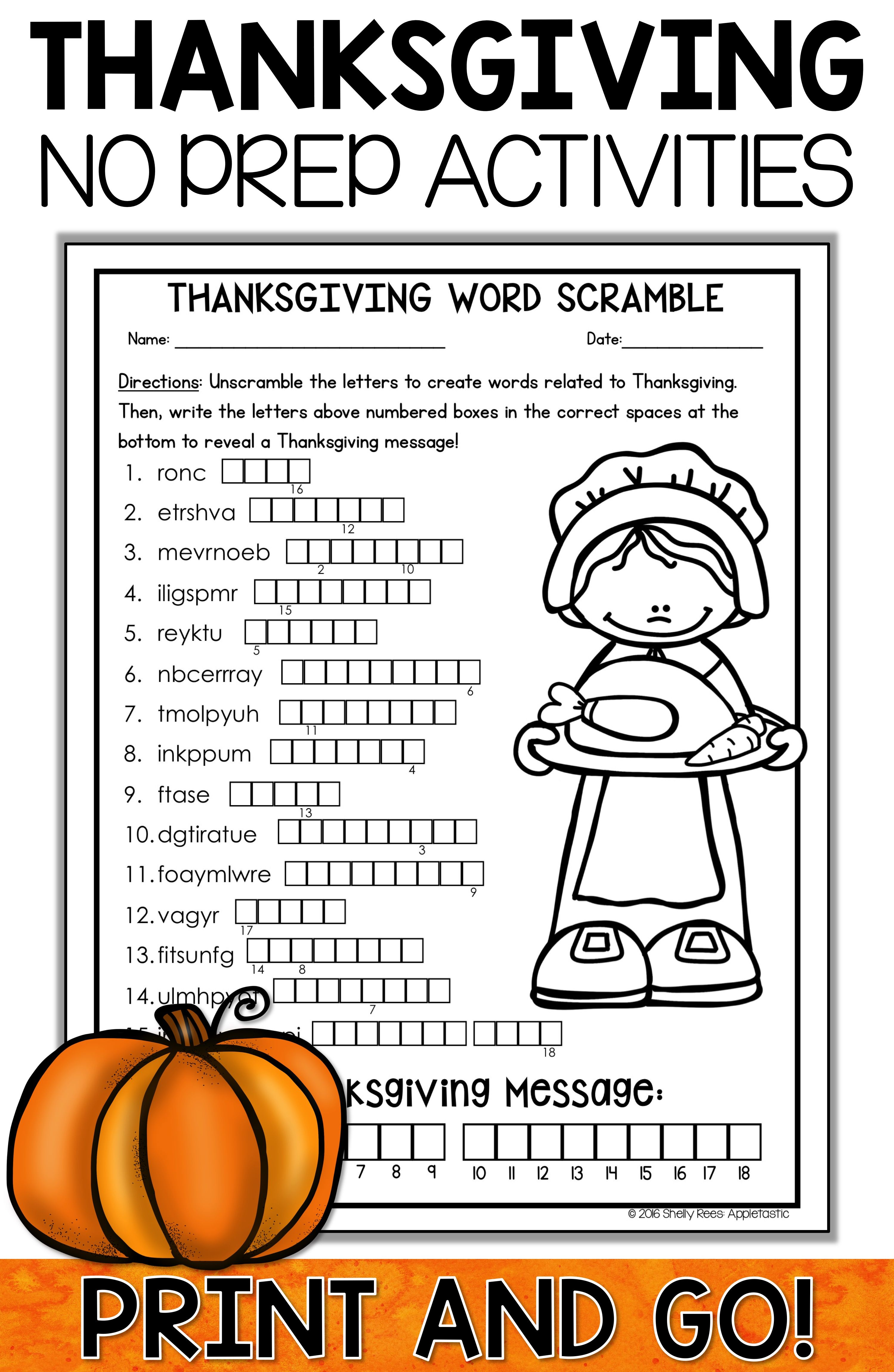 Thanksgiving Activities Crafts And Word Search