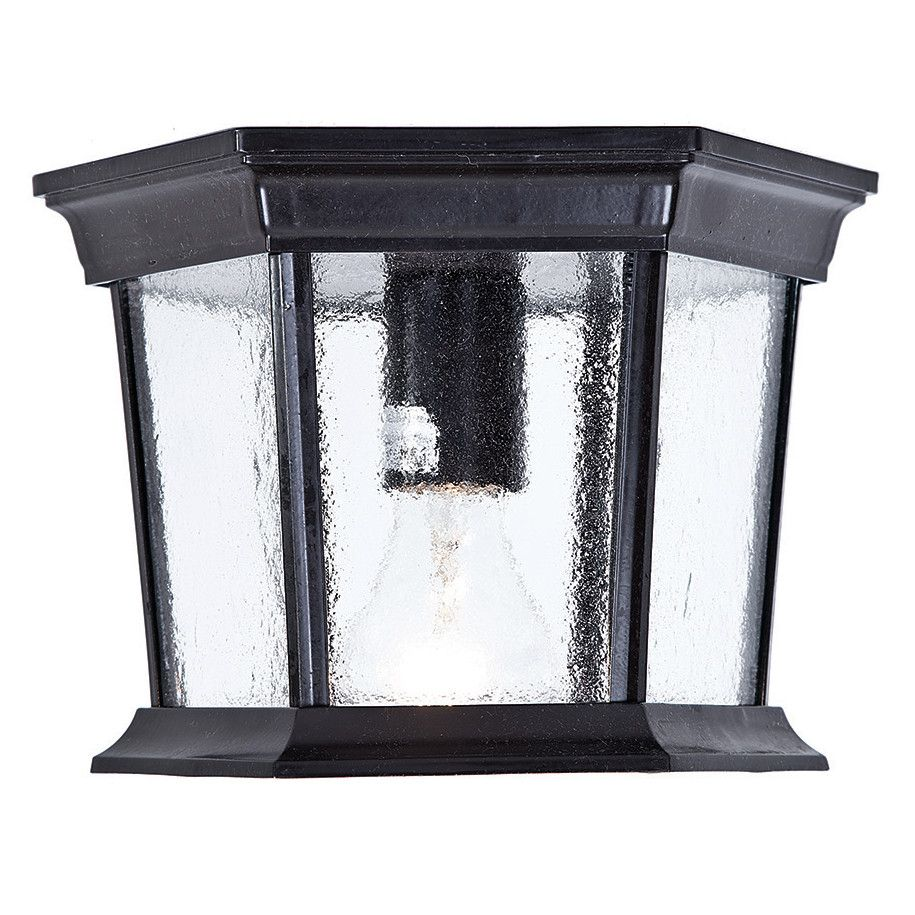 Acclaim Lighting 5275 Dover 1 Light Outdoor Ceiling Fixture With Clear Seeded Gl Matte Black Fixtures Flush Mount