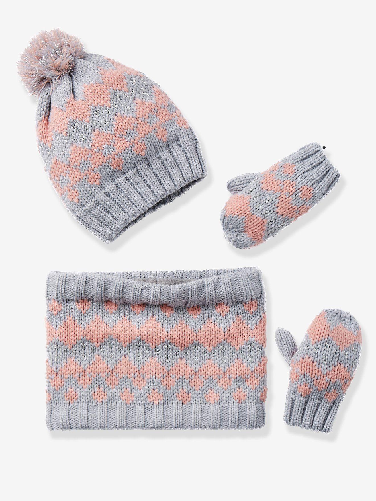 5c60923c847 Bonnet fille + snood + moufles ou gants jacquard gris clair - Parée pour l