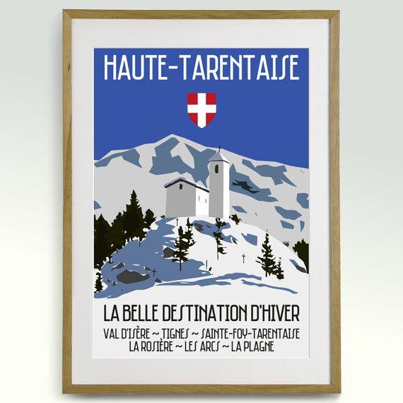 retro 60s travel ski poster haute tarentaise french alps tignes val d 39 isere les arcs la. Black Bedroom Furniture Sets. Home Design Ideas