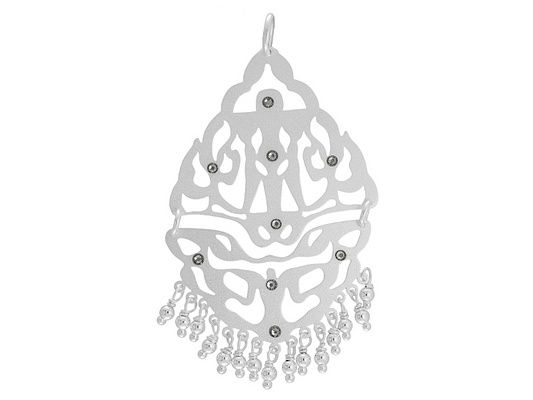 .56ctw Crystal Sterling Silver Lasercut Pendant With Dangling Beads