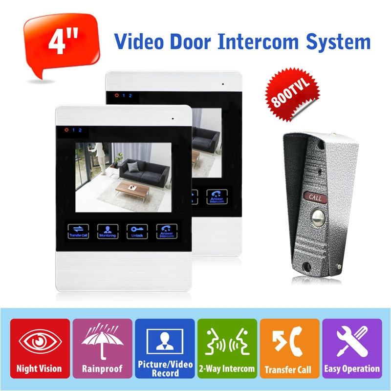 "185.66$  Watch now - http://ali267.worldwells.pw/go.php?t=32789003416 - ""1v2 Wired Touch Key  4"""" Color LCD Monitor English/Russian Wired Video Door Phone Intercom Entry System 800TVL Camera Rainproof"""