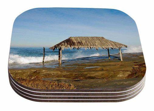 Crashing Waves Near Hut by Nick Nareshni Coaster