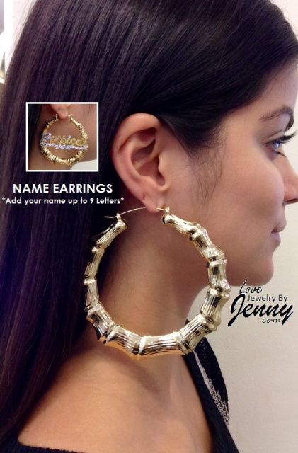 14k Gold Overlay 4 Inch Super Size Hoop Bamboo Earrings Personalized Any Name