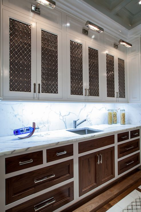 good 2 Door Kitchen Cabinet #9: The Renovated Home - kitchens - white cabinets with wood door fronts, two  tone kitchen
