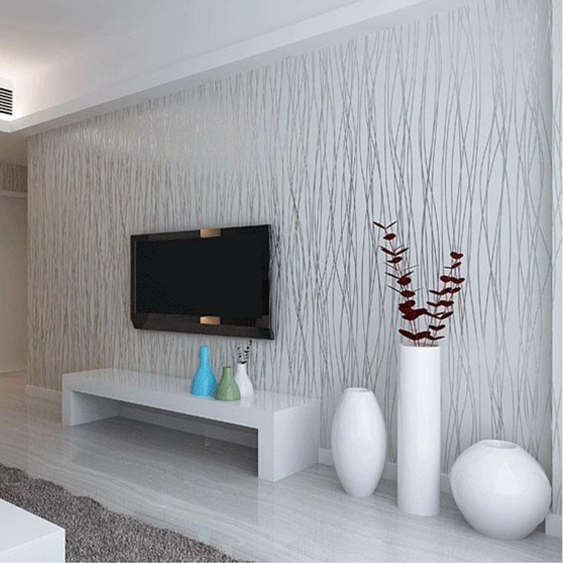 Compre al por mayor no tejida moda delgada flocado rayas - Papel pared rayas verticales ...