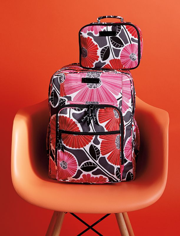 7585148a21 Vera Bradley Winter 2014  Lighten Up Large Backpack in Cheery Blossoms and  Lighten Up Lunch Mate in Cheery Blossoms.