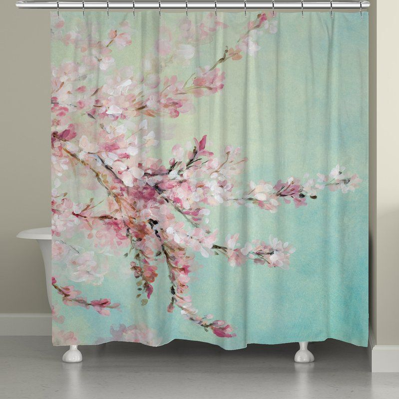 Tyron Cherry Blossoms Single Shower Curtain Colorful Shower Curtain Shabby Chic Kitchen Curtain Designs